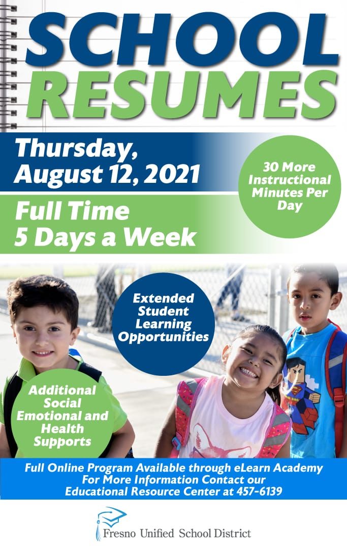 School Resumes August 12, 2021. Full time 5 days a week. Full online program available through eLearn Academy. Call our Educational Resource Center at 457-6139.