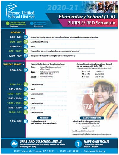 Cover of elementary schedule