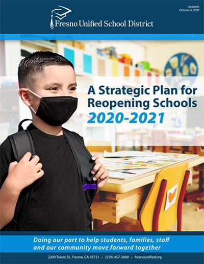 Cover of Strategic Plan with student wearing mask and backpack